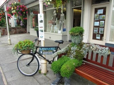 A floral man on a bike from Lytham in Bloom in 2012