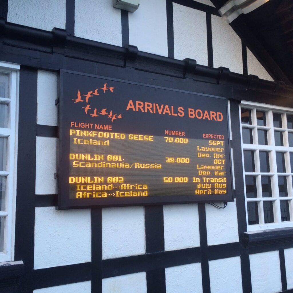 RSPB Fairhaven arrivals board for migrating birds