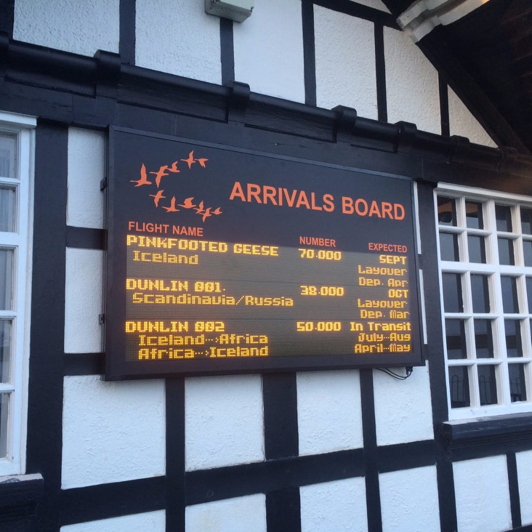 RSPB Fairhaven arrivals board for migrating birds