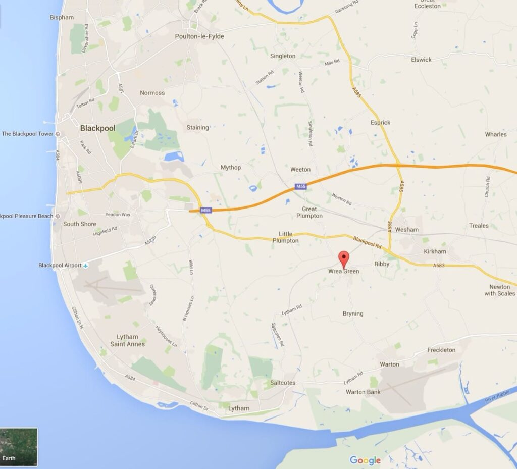 Google map of where Wrea Green is on the Fylde Coast
