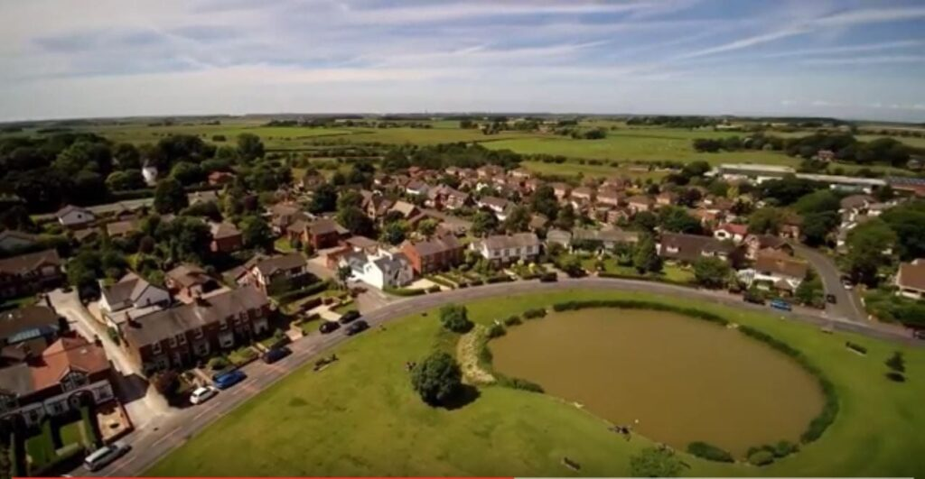 Aerial view of Wrea Green, Image taken from aerial video by Quadographer13