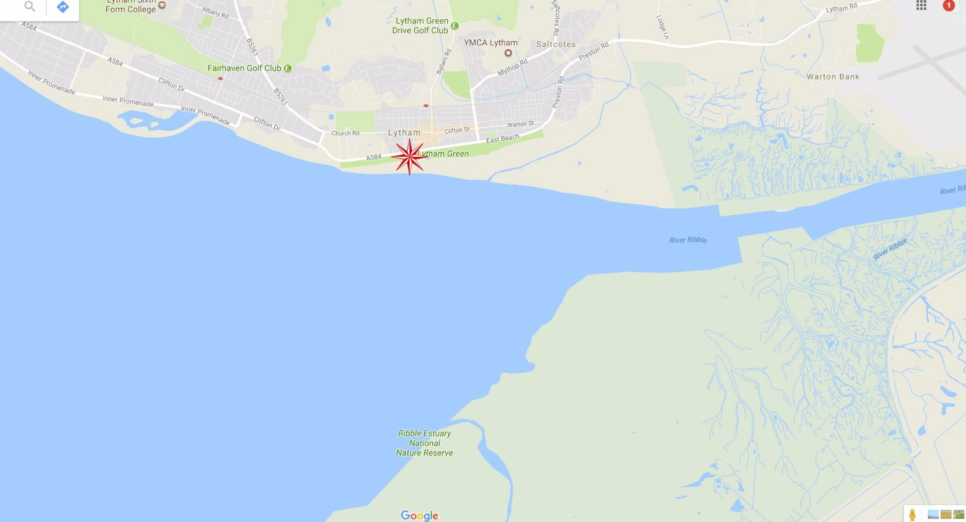 Google Map of Lytham seafront