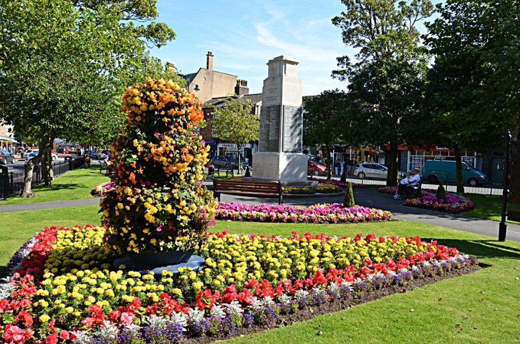 The War Memorial at the centre of Lytham Memorial Garden