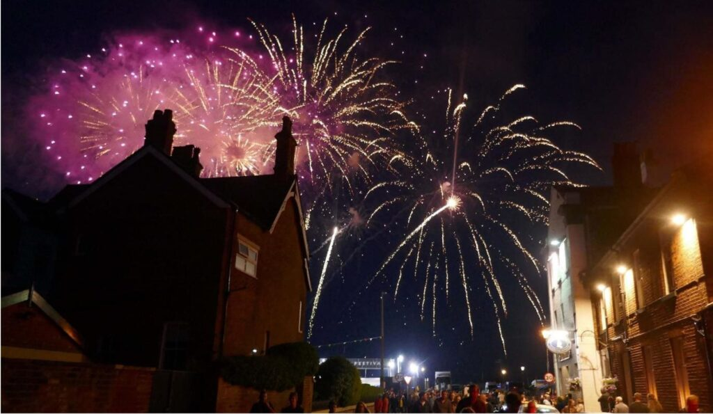 Fireworks at the end of the first night of the Festival. Photo: Sue Massey
