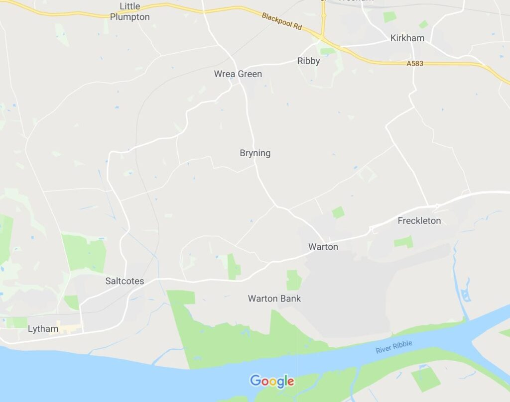 Google map of the Freckleton area